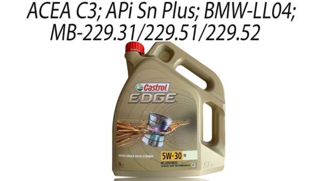 Castrol Edge 5W-30 M Bmw Longlife-04 Fluido Titanio Aceite de Motor 1x 5 Litro