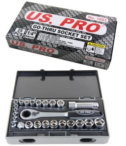 25pc GO THROUGH RATCHET SOCKET SET by US PRO TOOLS 4mm to 19mm ...