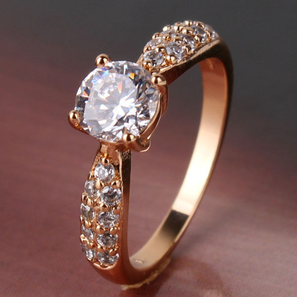 Honey white sapphire crystal Solitaire Ring 18k gold filled Sz5-9/J-R