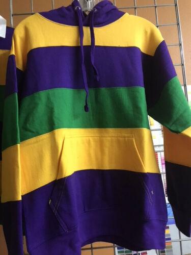 Adult Small Mardi Gras Hoodie Pullover Sweatshirt Purple Green Gold
