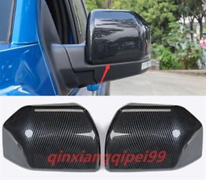 2PCS Carbon Fiber Door Rearview Mirror Frame Trim Fit For Ford F150 2017-2020