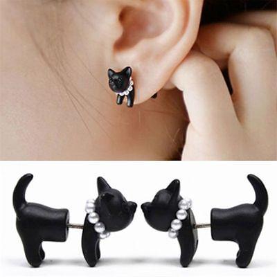 1PC Punk Pearl Black Stereoscopic Cat Ear Stud Womens Mens Piercing Earring New