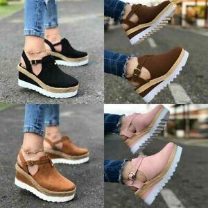 Women Block Shoes Ankle Strap Sandals Close Toe Platform Flat Wedge Casual Shoes