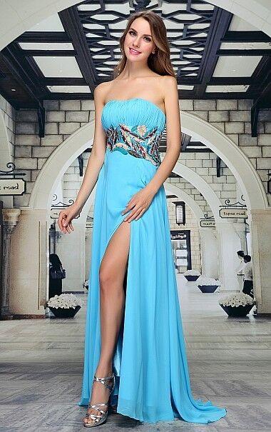 Abendkleid Ballkleid Brautkleid Kleid von Festamo in hellblau, Gr. 34 40 44 46