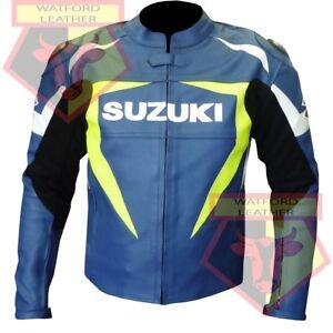 SUZUKI-4314-BLUE-MOTORBIKE-MOTORCYCLE-BIKERS-COWHIDE-LEATHER-ARMOURED-JACKET