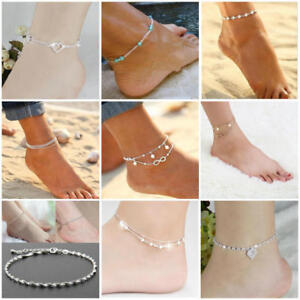 Image Is Loading Womens Ankle Bracelet Silver Gold Plated Sterling Anklet