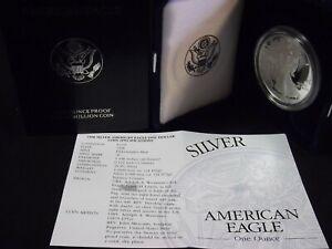 1998 P Silver American Eagle One Proof Dollar Coin w//Box /& COA $1 US Coin