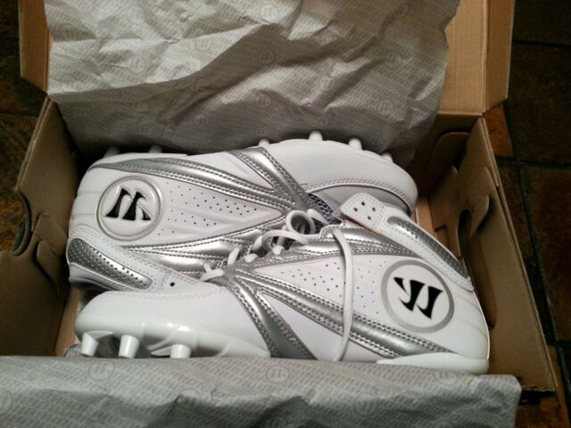 dc6123e5b Warrior Lacrosse Second Degree 3.0 Cleats - Silver on White - WMSSM3WT - NEW