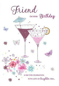 Friend Butterflies Cocktail Glasses Design Happy Birthday Lovely Verse Card Ebay