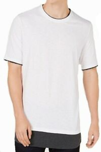 INC NEW White Mens US Size XL Crewneck Solid Layered Hem Tee T-Shirt $29 531