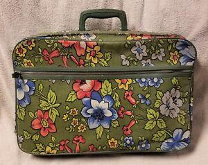 Details About Vintage Bantam Travelware Peter S Bag Corp Green Fl Suitcase Overnight