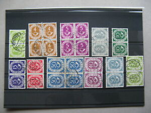 GERMANY-BRD-lot-used-pairs-and-blocks-of-4-034-Posthorn-034
