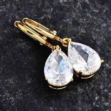Yellow Gold Filled Rhinestone Hoop Womens Cute Crystal Dangle Earrings