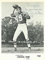 Johnny Unitas Signed Colts Football 8x10 Photo PSA/DNA COA Picture Autograph HOF