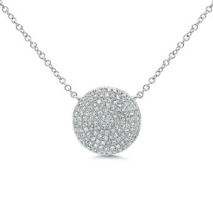 cd911f0767eb9 Details about Womens Natural 0.36CT 14K White Gold Pave Diamond Circle Disc  Pendant Necklace