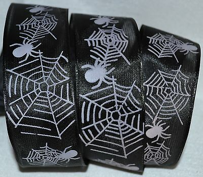 Wired Ribbon~Spider~CobWeb~Black~White~Halloween~Fall~Wreath~Gift~Craft~Bow