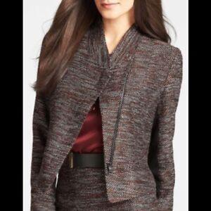 Ann Taylor Women's 10P Petite Blazer Asymmetrical Front Zip Pockets Pink Black
