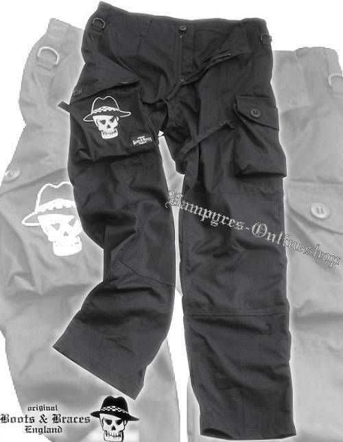 Stiefel And Braces Cargo Hose Nightmare Pant Schwarz Neu