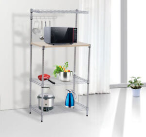4-Tier-Bakers-Rack-Kitchen-Cart-Microwave-Stand-Cutting-Board-Workstation