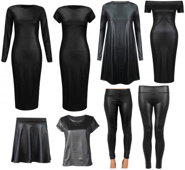 New Womens Ladies Cap Sleeve Bodycon Stretch PVC WetLook Midi Leggings Top Dress