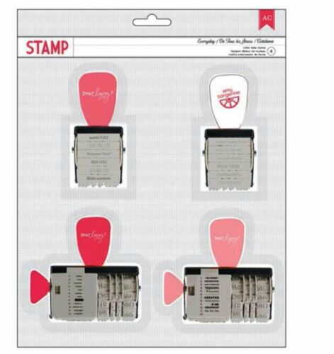 American Crafts Roller Stamp Kit ~ EVERYDAY ROLLER STAMP KIT ~ 4-pack  ~366254