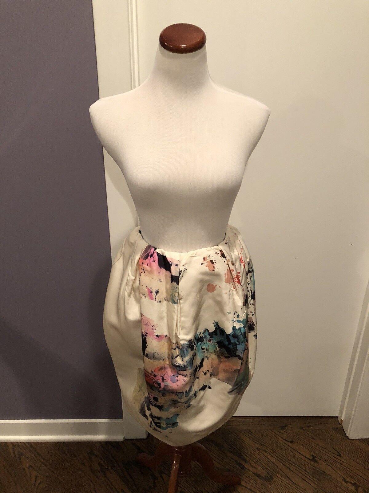 Josh Goot Silk Splatter Print Skirt S 4 New