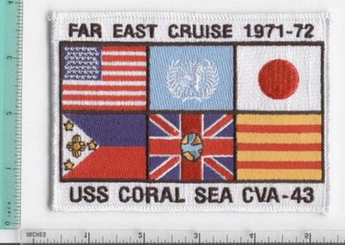 USS CORAL SEA CV-43 FAR EAST CRUISE 71-72 1971-1972 NAVY  PATCH CVA-43