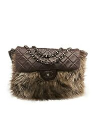 Chanel Brown Quilted Lambskin Leather & Faux Fur Shoulder Bag