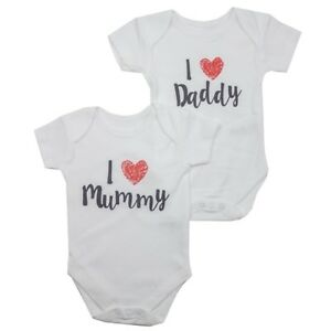 418c6856d8de Ex Store Baby Boy Girl 2 Pack I Love Mummy Daddy Bodysuit Vests N B ...