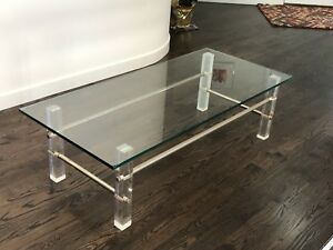 Mid Century Lucite Metal Frame Rectanglular Glass Coffee Table Ebay