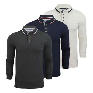 Brave-Soul-Kennedy-Homme-Polo-Shirt-a-Manches-Longues-En-Coton-Pique-Top-Casual