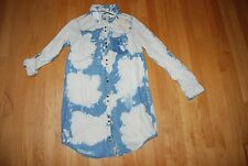 NWT Shades of Blue & White Acid Wash LIFE IN PROGRESS Snap Front Short Dress XS