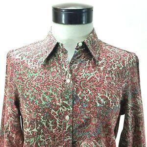 CHAPS NO IRON Shirt Pink Paisley w Plaid Flip Cuff Button Front Women's M $65