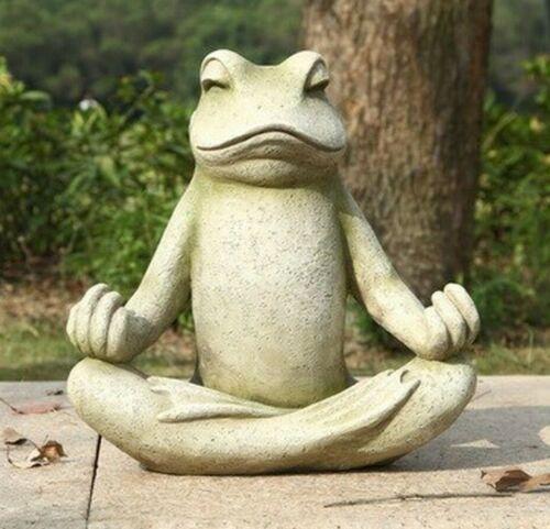 Garden Yard New Life Like Figurine Statue Home Frog Sitting Lotus Statue