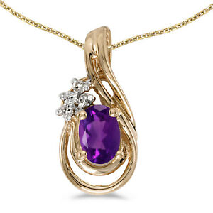 10k-Yellow-Gold-Oval-Amethyst-And-Diamond-Teardrop-Pendant-with-16-034-Chain