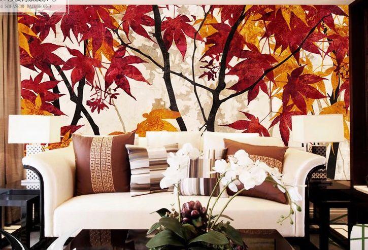 3D red und yellow ahornblatt Fototapeten Wandbild Fototapete BildTapete Familie DE