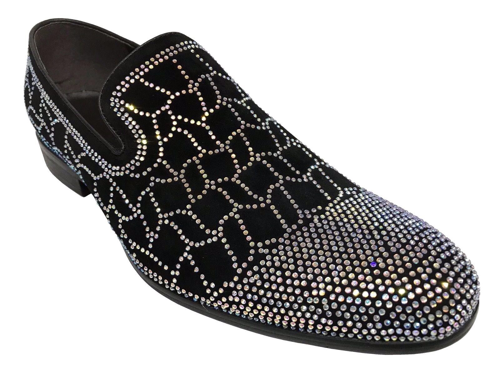 ZOTA UNIQUE Men's Crystal Design Fashion Black Silver Suede Loafers  GF835-105