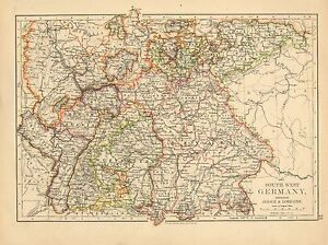 Map Of South Germany.Details About 1892 Victorian Map Germany South West Alsace Lorraine Bavaria Baden