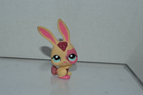 Littlest Pet Shop ~ #2147 ~ Coelho ~ Creme Rosa Glitter Vermelho Rosa ~ ~ Ponto Azul Olhos
