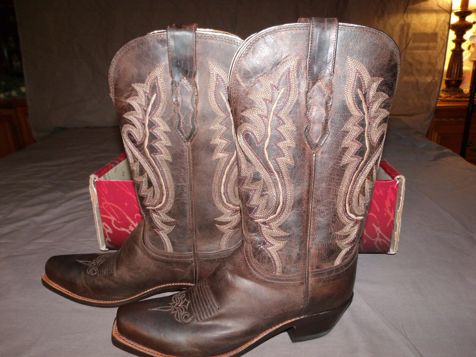New Lucchese Women's Boots M5002.74 Chocolate Madras Goat size 10.0 B