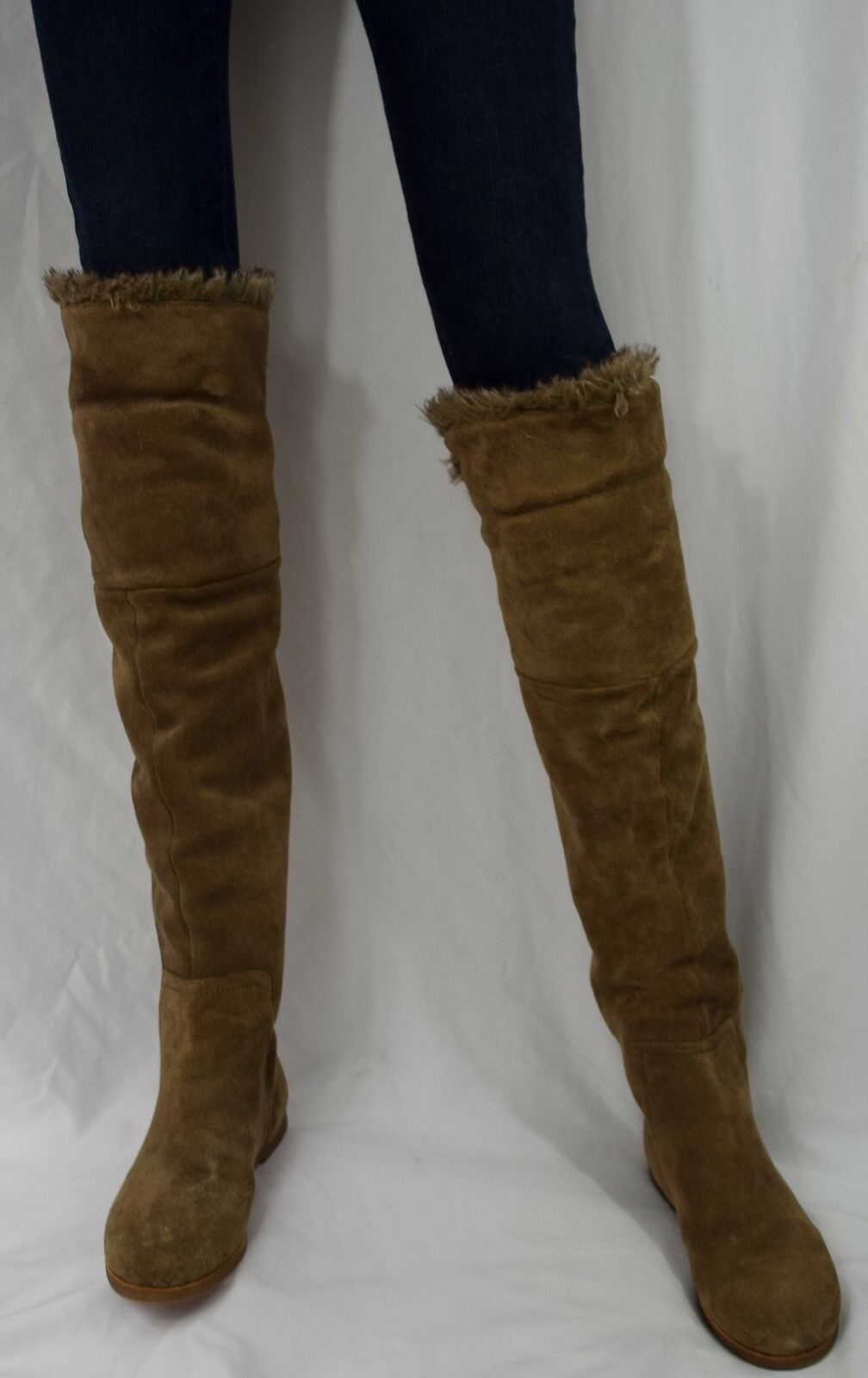 Sam Edelman Orlando Over The Knee Leather Fur Boots Size