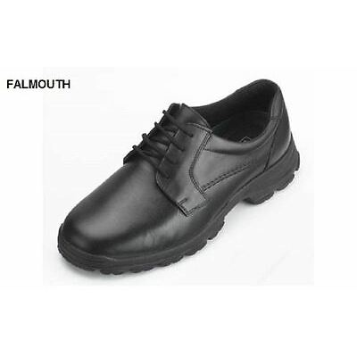 DB SHOES FALMOUTH GIBSON LACE UP LEATHER SHOES IN BLACK, (4E FIT) EXTRA WIDE