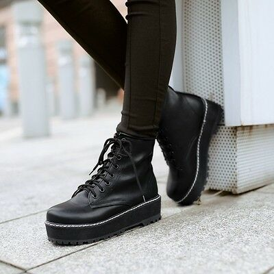 Womens Punk Creepers Platform Lace Up Military Motorcycle Ankle Boots Shoes New