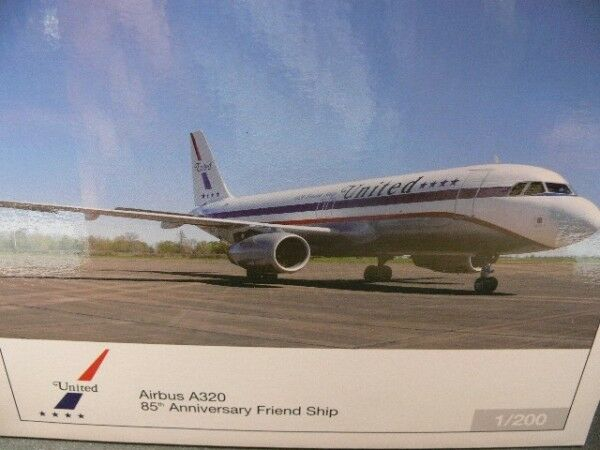 1 200 Herpa 554671 United Airlines Airbus a320 85th Anniversary Friend Ship
