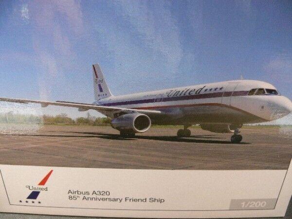 1   200 herpa 554671 united airlines airbus a320 - 85. jahrestag freundschaft
