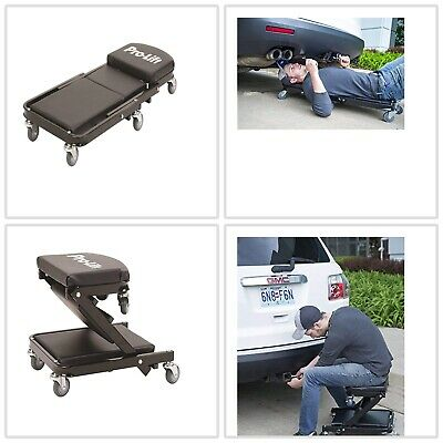 40 inch Foldable Z Creeper Up To 450 Pounds Mechanic Tool Seat Black Heavy Duty