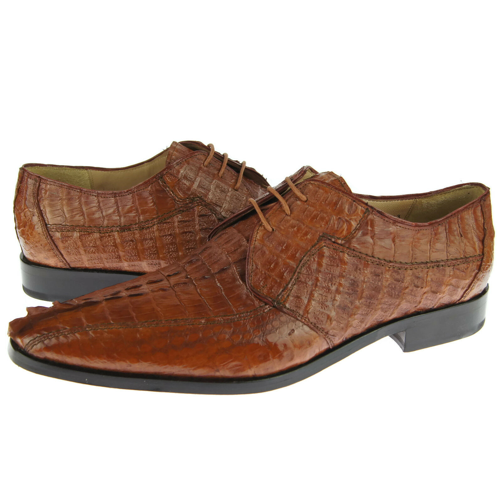 David Eden  Cancun  Crocodile Derby, Men's Exotic Leather Oxford shoes,Cognac 10