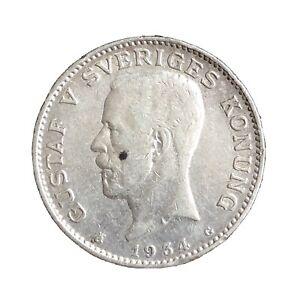 Sweden-1-Krona-1934-Gustaf-V-Silver-Coin