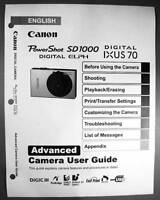Canon Powershot Sd1000 Ixus 70 Digital Camera User Guide Instruction Manual