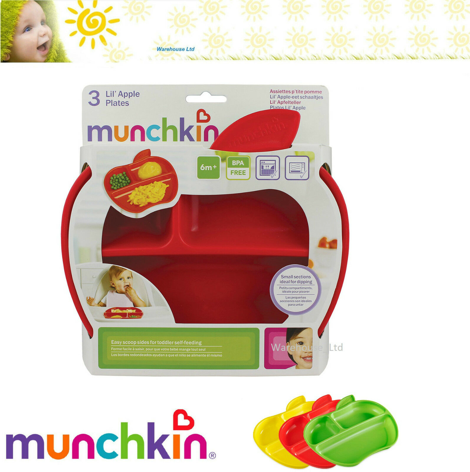 Pack of 3 Munchkin Apple Shaped Toddler Plates with 3 divided sections